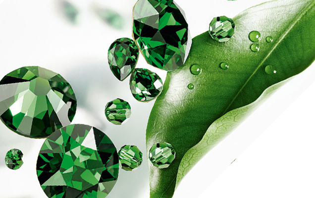 Green crystals and leaf
