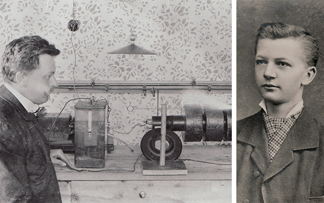 Old photos of Daniel Swarovski using his diamond cutting machine